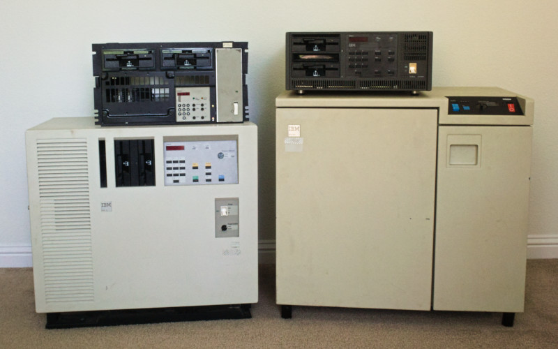 Photograph of IBM 3174-1L, 3174-23, 3174-61R and 3274-41D terminal controllers.